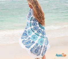Trendy Round Beach Towel - Blue Green Color | SwimZip Rash Guard Swimwear