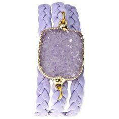 Alexandra Beth Designs Druzy Wrap Bracelet ($138) ❤ liked on Polyvore featuring jewelry, bracelets, watches, 14k bracelet, leather bangle, 14k bangle, 14 karat gold bracelet and wrap bracelet