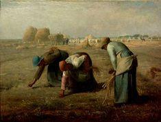 """Милле сначала задумал свою композицию """"Собирательница колосьев"""" в высоком формате, но очень скоро почувствовал, что только поперечный формат способен содействовать нужному настроению — атмосфере одиночества, бедности, тяжелого физического труда."""