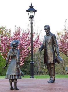 A statue by sculptor Don Sottile in  Westfield, New York memorializes the Feb. 16, 1861 meeting between President-elect Abraham Lincoln and Grace Bedell.