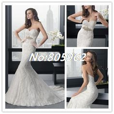 Aliexpress.com : Buy Elegant 2014 Appliques Sweetheart Mermaid Wedding Dress Lace Strapless Sleeveless vestido de noiva Open Back Bridal Gown C14 from Reliable Wedding Dresses suppliers on Suzhou Romantic Wedding Dress Co. Ltd