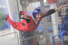 "iFly, an indoor skydiving activity, is just one of the ""adventure"" tours that we put together for guests.  Here our tour guide, Jeff, demonstrates that anyone can fly (in a vertical wind tunnel)."