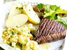 Gegrilde steak met bloemkool op z'n Vlaams