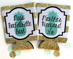 Pineapple Stripe Party favors. Gold and White Kate Spade theme Bachelorette koozies.