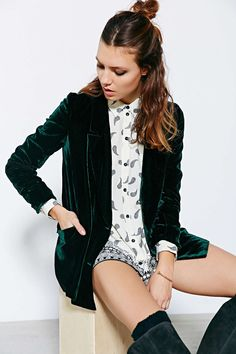 Line & Dot Velvet Double-Breasted Blazer - Urban Outfitters                                                                                                                                                                                 More