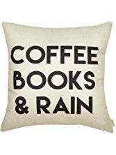 """A Perfect Day = Coffee Books and Rain Motivational Inspirational Quote Fjfz Cotton Linen Home Decorative Throw Pillow Case Cushion Cover with Words for Book Lover Worm Sofa Couch, 18"""" x 18"""""""