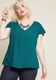 478fe17db03 Motivating Ways Button-Up Top in Teal