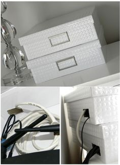Conceal your router in fancy storage boxes :: I have a goal to hide all my wires + router in the house. This looks like an easy fix to hide my router! Diy Casa, Ideas Para Organizar, Ideas Geniales, Home Hacks, Storage Boxes, Organization Hacks, Organizing, Getting Organized, Home Projects