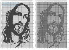 Free filet crochet pattern Jesus face 110 x 170 squares religious category Cross Stitch Letter Patterns, Cross Stitch Letters, Cross Patterns, Applique Patterns, Canvas Patterns, Cross Stitch Designs, Quilt Patterns, Stitch Patterns, Crochet Horse