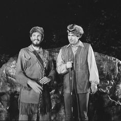 """In July or August of 1966, Fess Parker paid a visit to Boone, NC's own """"Horn in the West"""" outdoor drama. Parker is seen with Glenn Causey (Boone)"""