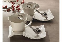 Villeroy & Boch New Wave cafe cups with spoon #tableware
