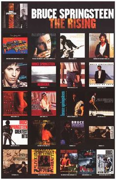 """A fantastic poster of Bruce Springsteen album covers from 1973's Greetings from Asbury Park to 2002's The Rising! Ships fast. 11x17 inches. Check out the rest of our """"boss"""" selection of Bruce Springst"""