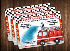 Fireman Invitation - Firetruck Birthday Party Invite - Fire Truck Theme Invitation - DIY Printable Customized