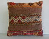 brown orange cream zigzag pillow Kilim Pillow Throw Pillow kilim cushion kilim rug pillow cover sham decorative throw pillow turkish cushion