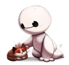 Big Hero 6-Chibi Baymax and the hairybaby cat