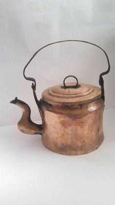 Antique Copper Teapot Kettle Primitive Handmade Tea Pot Rustic