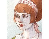 """Mod Redhead Girl Portrait ACEO Print """"A Remnant of Summer"""" by Amy Abshier Reyes 5/50"""