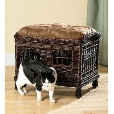 Rattan Two-Tier Cat Bed With Washable Pillows