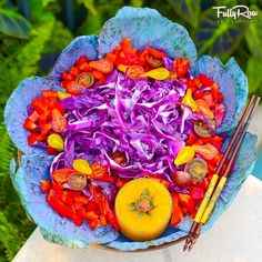 Cabbage Blossom Salad!  Purple cabbage, red bell pepper, heirloom cherry tomatoes, and blended mango! Prep time: 10 minutes.