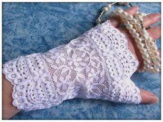 Gants mitaines dentelle blanche : Mitaines, gants par orkan28
