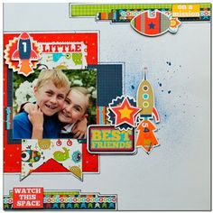 Kaisercraft blast off Scrapbook Sketches, Scrapbooking Layouts, Scrapbook Cards, Baby Boy Scrapbook, Watch This Space, Page Design, Card Stock, Joy, Diy Crafts