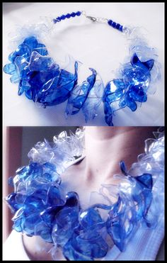 Necklace made from PET bottles - Blue Ocean