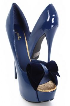 2ee965a5b612 Blue Patent Velvet Bow Accent Peep Toe Platform Heels   Sexy Clubwear