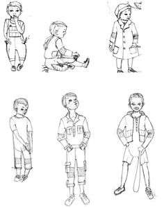 Norman Rockwell Children's wear collection. Croquis sketches. Maya E. Shakur