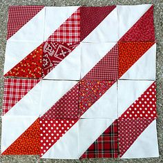 half square triangles make diagonal lines. I like all the shades of red.half square triangles make diagonal lines. I like all the shades of red. Quilt Block Patterns, Pattern Blocks, Quilt Blocks, Sewing Patterns, Half Square Triangle Quilts Pattern, Square Quilt, Red And White Quilts, Quilt Of Valor, Damier