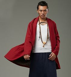 Red Designer Chinese Style Chinese Men's Winter Long Coat via Asia-Sale Best Tai Chi, Kung Fu Clothing