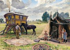 """Gypsy Wagon and Tent, Dame Laura Knight, 1962. Shows a Bender tent - a makeshift shelter for work or cooking.  A wagon wheel in the foreground seems to await repair while the kids look on.  Note the size of these caravans relative to today's """"needs"""" and remember that whole families lived and were raised this way."""