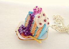 Polymer Clay Cake Cake Necklace Fimo Miniature by GlitteramaCrafts, £13.00