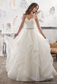 morilee spring 2017 bridal strapless sweetheart neckline ruched bodice layer skirt princess romantic ball gown a  line wedding dress chapel train (5504) mv -- Morilee by Madeline Gardner Spring 2017 Wedding Dresses