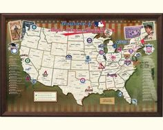 major league ballparks map, comes with pins to mark the stadiums you've been to