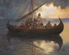 Christ Calming the Storm - Jon McNaughton Images Du Christ, Images Bible, Pictures Of Jesus Christ, Bible Pictures, Catholic Pictures, Jesus Christ Painting, Jesus Art, Religious Paintings, Religious Art