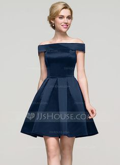 A-Line/Princess Off-the-Shoulder Short/Mini Zipper Up Strapless Sleeveless No Dark Navy Spring Summer Fall General Satin Homecoming Dress