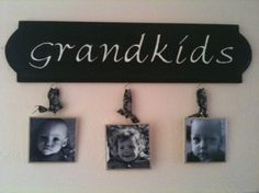 Hanging photo tiles to show off the grandchildren!