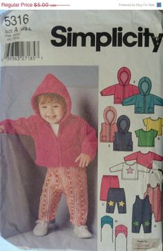 Babies Sewing Pattern Simplicity 5316 Babies Overall, Jacket or Vest, Pants, Top & Hat Pattern