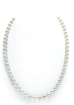 14K Gold White Freshwater Cultured Pearl Necklace, 18 Inch Princess Length - CHECK IT OUT @ http://www.finejewelry4u.com/jew/100146/150720