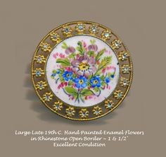 Image Copyright by RC Larner ~ Button--Very Large Late 19th C. Hand Painted Enamel & Rhinestone Floral Bouquet ~ R C Larner Buttons at eBay & Etsy        http://stores.ebay.com/RC-LARNER-BUTTONS and https://www.etsy.com/shop/rclarner