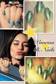 #VanessaHudgens #Coachella #Nails #realnails #polish #turquoise #bohemian #nailcharm -- Saw this in a Cosmo mag article so I tried it out! (Nail secret to get the gold use a crumbled sandwich baggy dip it in the polish then gently dab on the teal nails)