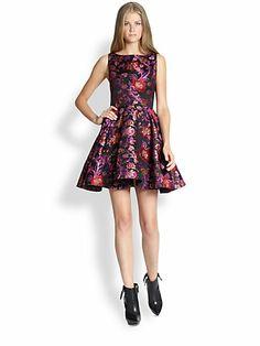 Alice + Olivia Foss Open-Back Jacquard Dress