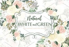 Watercolor Natural White and Green by designloverstudio on @creativemarket