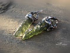 Raw Moldavite earrings natural Czech Moldavite earrings Fairy Jewelry, 316 Stainless Steel, Simple Earrings, Luxury Jewelry, Etsy Earrings, Diana, Stone, Natural, Metal