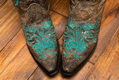 Corral Womens Antique Saddle Inlay & Studs Cowboy Boot - R1213  http://www.countryoutfitter.com/products/45755-womens-dark-ant-saddle-turquoise-inlay-and-studs-boot-r1213