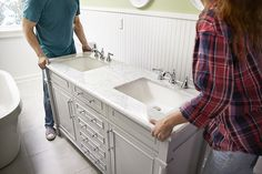 bathroom makeover How To Update Your Vanity and Faucet - One of the easiest ways to give your bathro Bathroom Vanity Makeover, Best Bathroom Vanities, Small Bathroom, Bathroom Modern, Bathroom Ideas, Vanity Redo, Makeup Vanities, Restroom Ideas, Vanity Bathroom