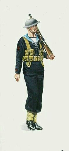 ROYAL NAVY WWII, Leading Wire Man, Landing Party, Home Waters 1940 - pin by Paolo Marzioli British Uniforms, Military Diorama, Royal Navy, World War Ii, Troops, Ww2, Landing, United Kingdom, Party