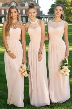 Blush pink bridesmaid dresses, Mismatched prom dresses, Chiffon bridesmaid dresses, long bridesmaid dresses, lace bridesmaid dresses from olesa wedding shop Pink Bridesmaid Dresses Long, Light Pink Bridesmaid Dresses, Wedding Bridesmaid Dresses, Wedding Gowns, Lace Wedding, Long Dresses, Dresses Dresses, Lavender Bridesmaid, Bridal Dresses