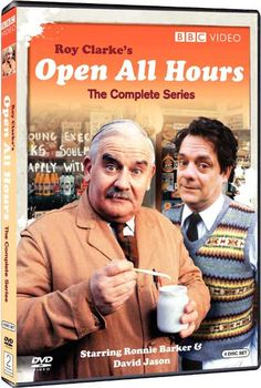 Open All Hours 1976 - 1985 Ronnie Barker/David Jason Aina Auki Bbc Tv Shows, Comedy Tv Shows, Comedy Actors, British Sitcoms, British Comedy, English Comedy, Ronnie Barker, Open All Hours, British Humor