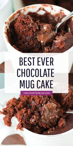 The moistest chocolate mug cake you will ever have! It's not spongy like other mug cakes! Recipe on tablefortwoblog.com #chocolatemugcake #mugcake #cake #cakeinamug #chocolatecake #easycake #chocolate